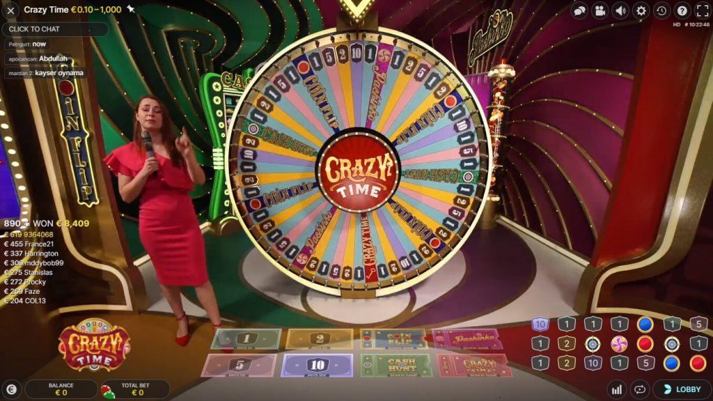 Spinia Live Casino met Crazy Time
