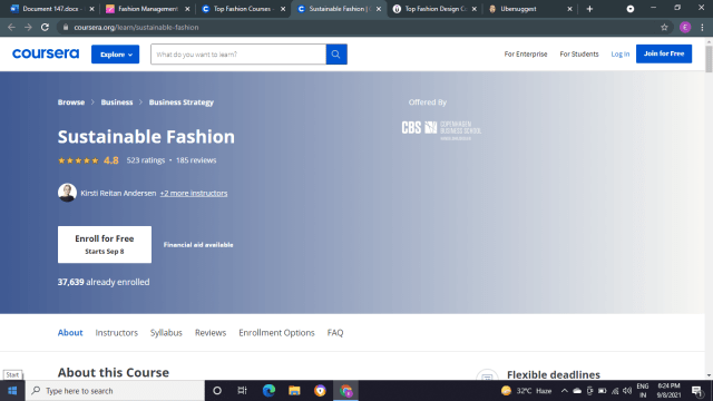Sustainable fashion by Coursera