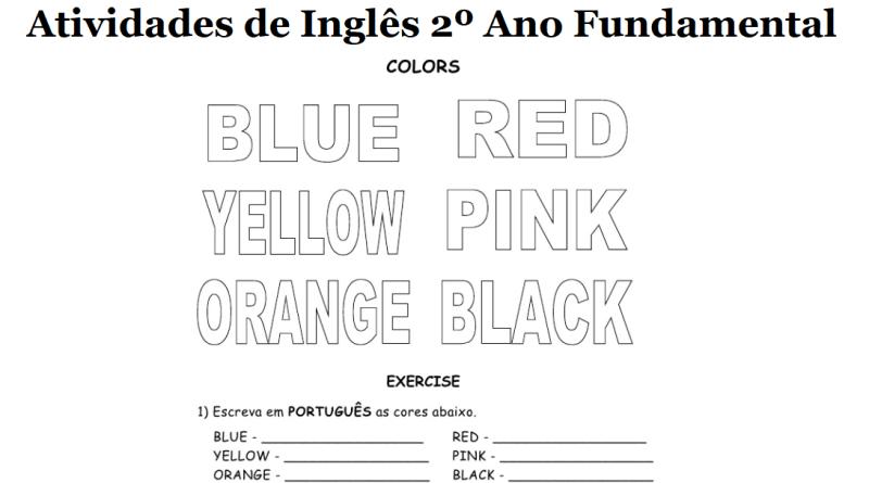 exercicios sobre cores em ingles 6 ano