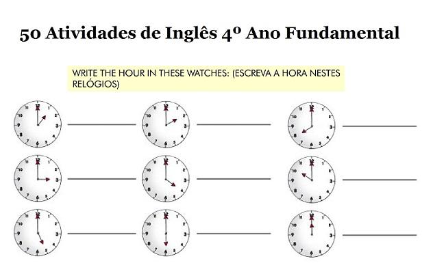 50 Atividades De Ingles 4º Ano Ensino Fundamental Para Imprimir