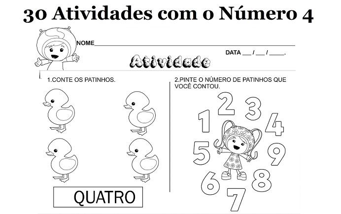 30 Atividades Com O Numero 4 Para Imprimir Educacao Infantil E
