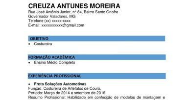 2 Modelos de Currículos de Costureira para Baixar em Word e PDF