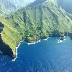 The view of Molokai's mountains and sea