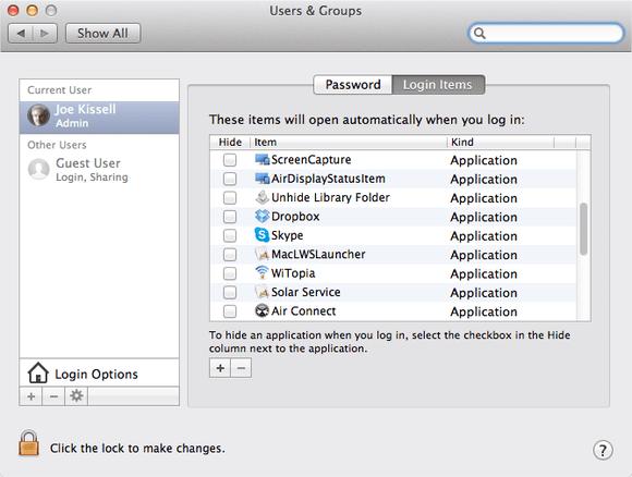 manage login item in mac