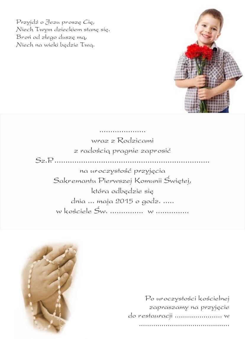 Zaproszenie Komunia