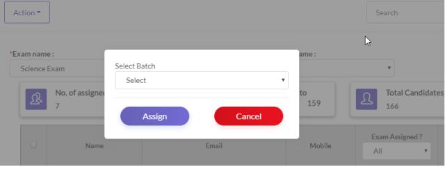 Assign Online exam to Batch