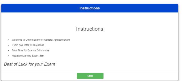 Online Exam Instructions