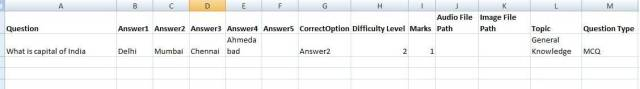 Bulk Questions Upload using excel template