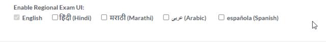 Exam UI Language Selection