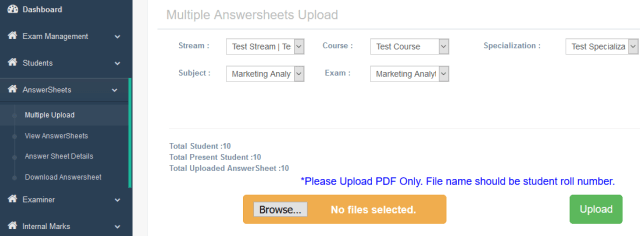 Exam Paper Upload for online paper checking system