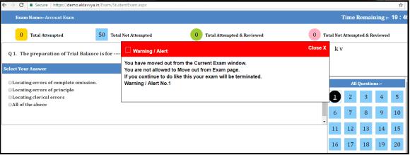 Online Exam Window Alert