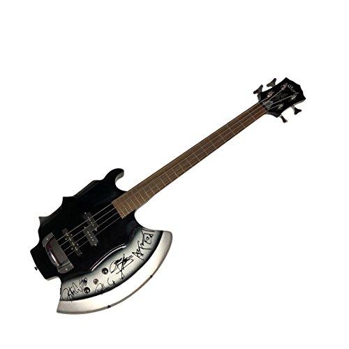 41fb0mvSxqL - Kiss Gene Simmons Ace Frehley Peter Criss Paul Stanley Facsimile Autographed Cort Axe Bass Guitar