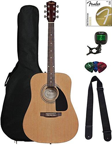 51TEOvSVeiL - Fender FA-100 Dreadnought Acoustic Guitar Bundle with Gig Bag, Tuner, Strap, Picks, Strings - Natural