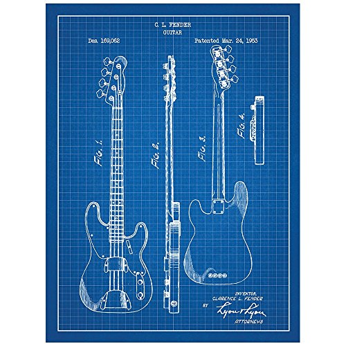 """61SFcPyVzgL - Inked and Screened Music and Audio """"Fender Bass Guitar - C.L. Fender - 1953"""" Print, Blue Grid - White Ink"""