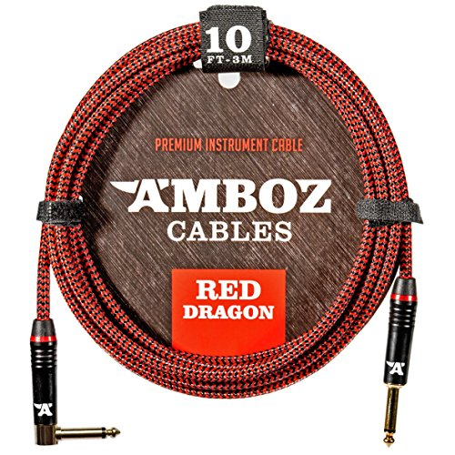61u7YbnO9aL - Red Dragon Guitar Cable - Sturdy & Ultra Flexible Instrument Cable For Electric & Bass Guitar Players - Super Noiseless, Used By Amateurs & Pros Alike - 10 FT / straight-rect. / Get Ready To Rock!
