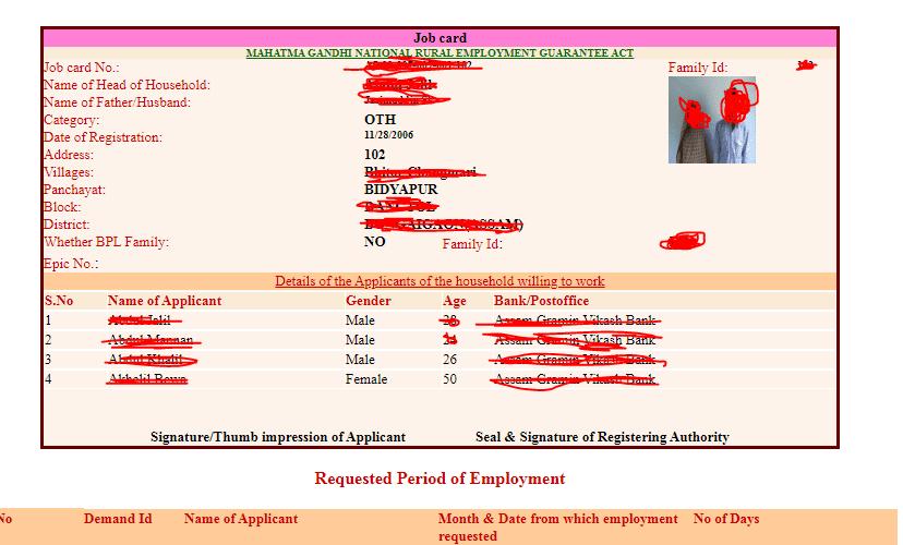 Assam MGNREGA Job Card list