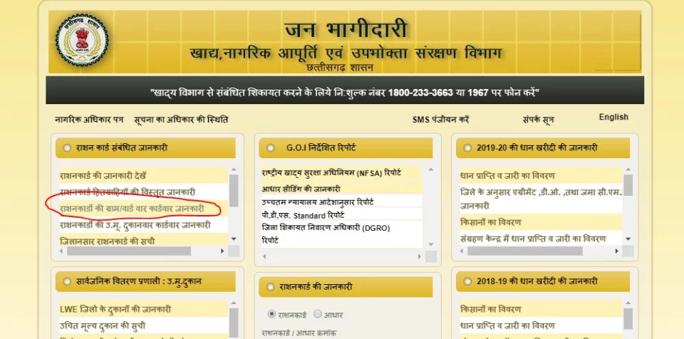 CG Ration Card Online Check
