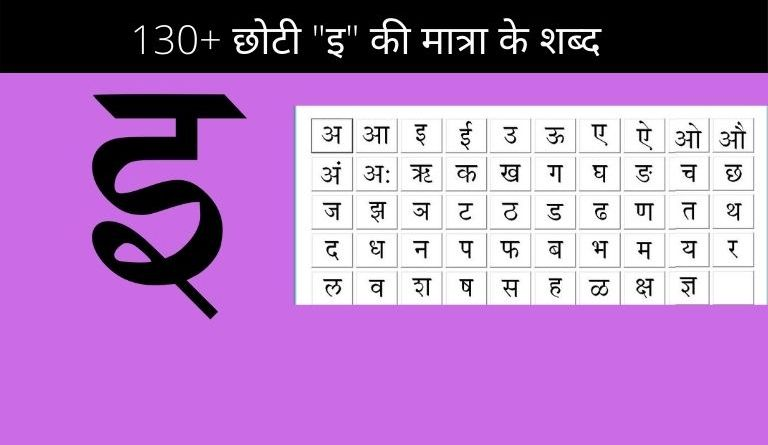 Chhoti Ee Ki Matra Ke Shabd in Hindi with Pictures