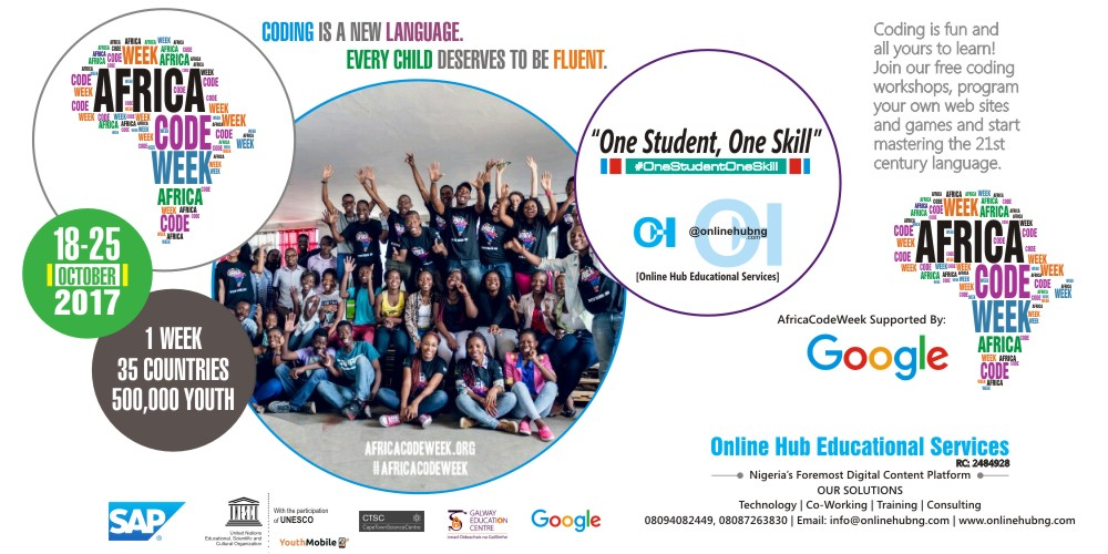 Online Hub Educational Services in conjunction with Cape Town Science Centre supported by Google to run hands-on coding workshops for Teenagers during Africa Code Week 2017 in Abeokuta, Ogun State, Nigeria