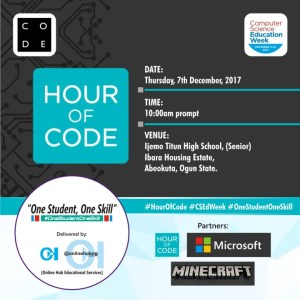 2017 Computer Science Education Week: Microsoft Nigeria supports @OnlineHubNGin Abeokuta to train over 1,000 students on coding