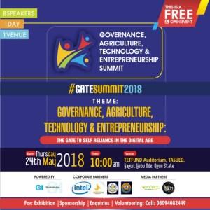 "Read more about the article Olawale Ayilara, Oluwatobi Oyinlola, Wole Oduwole, Tobiloba Arewa, others for ""GATE SUMMIT 2018"" in TASUED, Ijebu Ode"
