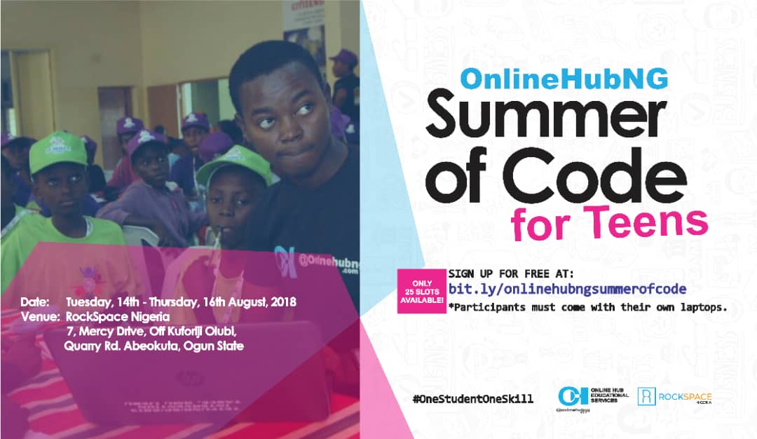 You are currently viewing Apply – OnlineHubNG Summer of Code Program 2018 for Teens in Abeokuta