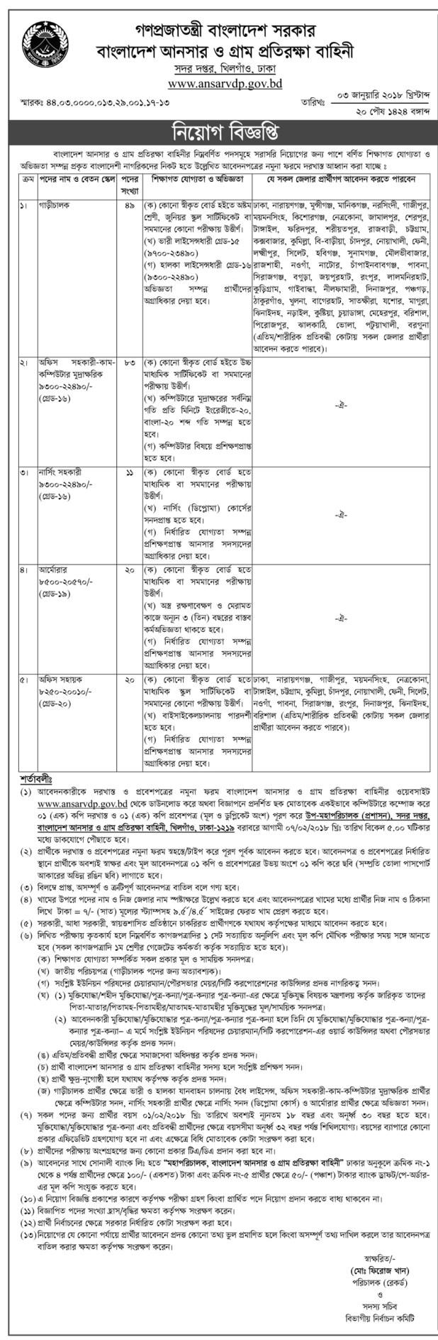 Bd Jobs Govt Jobs in bangladesh Ansar VDP Job Circular 2018
