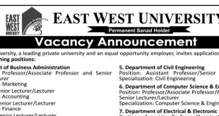 East West University Latest Job Circular