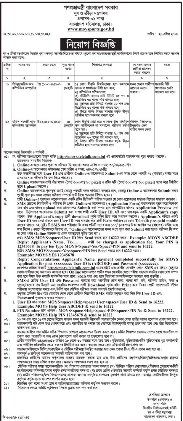 Ministry of youth and sports job circular 2018 www.moysports.gov.bd