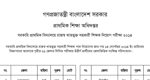 Directorate of Primary Education Job Exam Result