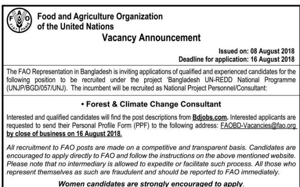 Food & Agriculture Organization (FAO) of the United Nations Job Circular 2018