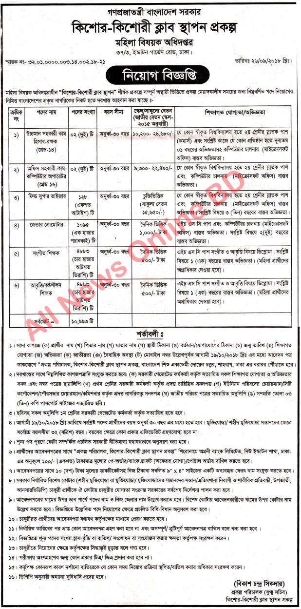 Department Of Women Affairs DWA Job Circular 2018