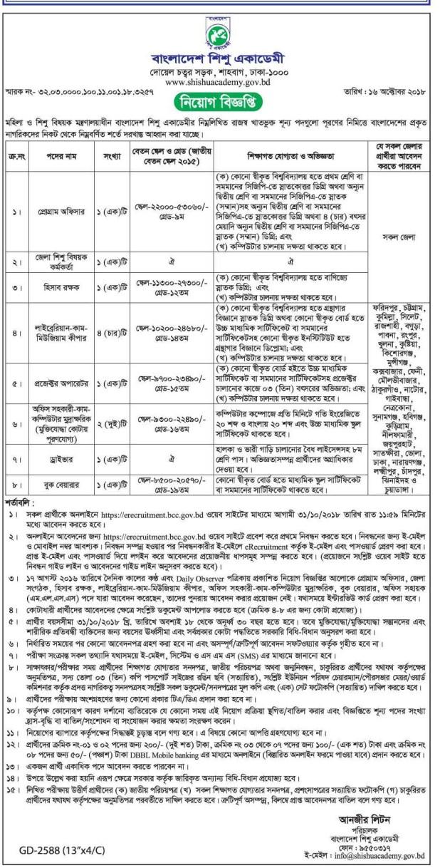 Bangladesh Shishu Academy Jobs circular 2018