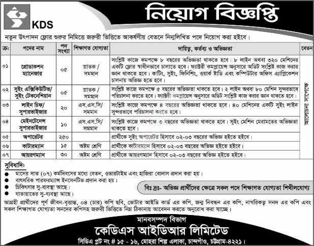 Kds Idr Ltd Job Circular 2019