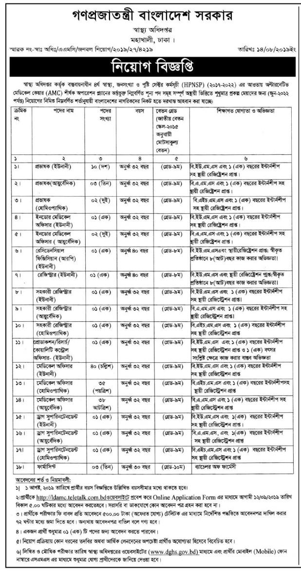 DGHS Job Circular 2019