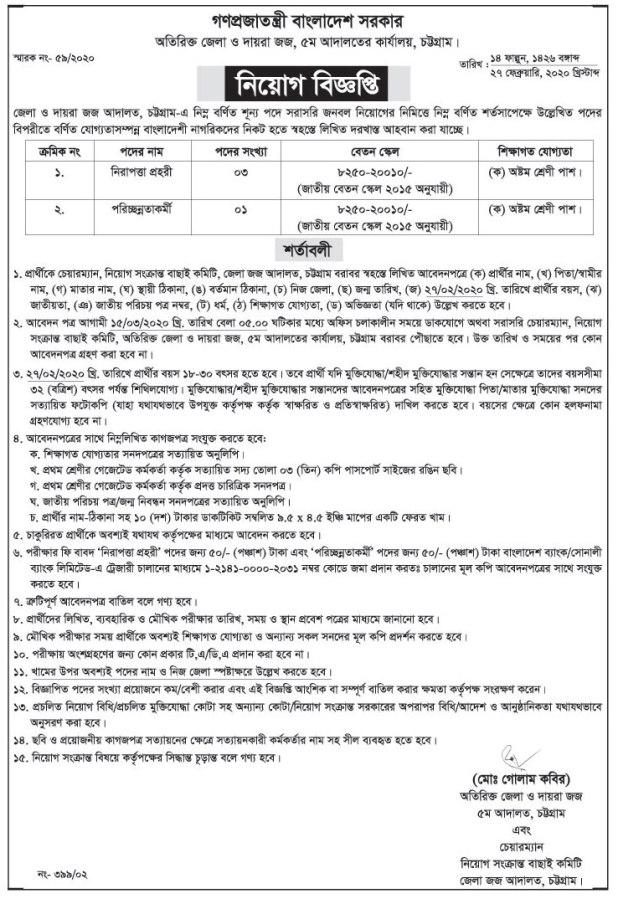 Additional District Judges Office Job Circular 2020