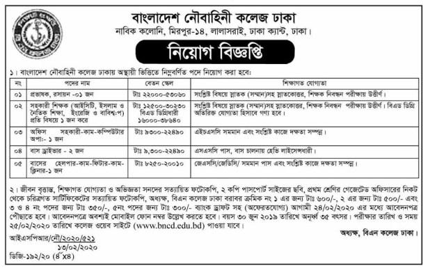 Bangladesh Navy Civilian Job Circular February 2020