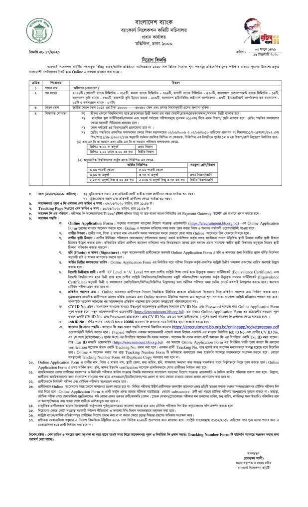 Combined 9 Bank Officer Job Circular 2020
