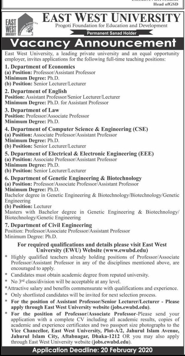 East West University Job Circular 2020