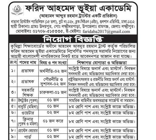 Farid Ahmed Bhuiyan Academy Job circular 2020