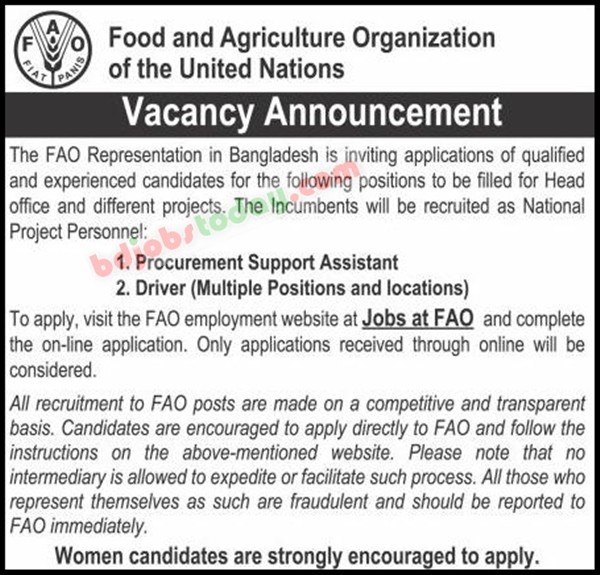 Food Agriculture Organization FAO Job circuar 202