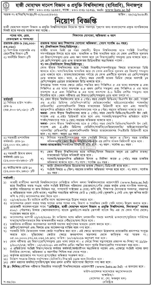 Hajee Mohammad Danesh Science & Technology University HSTU Job Circular 2020
