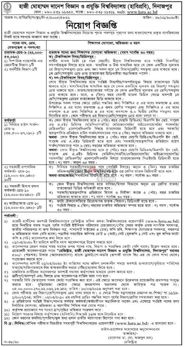 Hajee Mohammad Danesh Science & Technology University HSTU Job Circular 2020