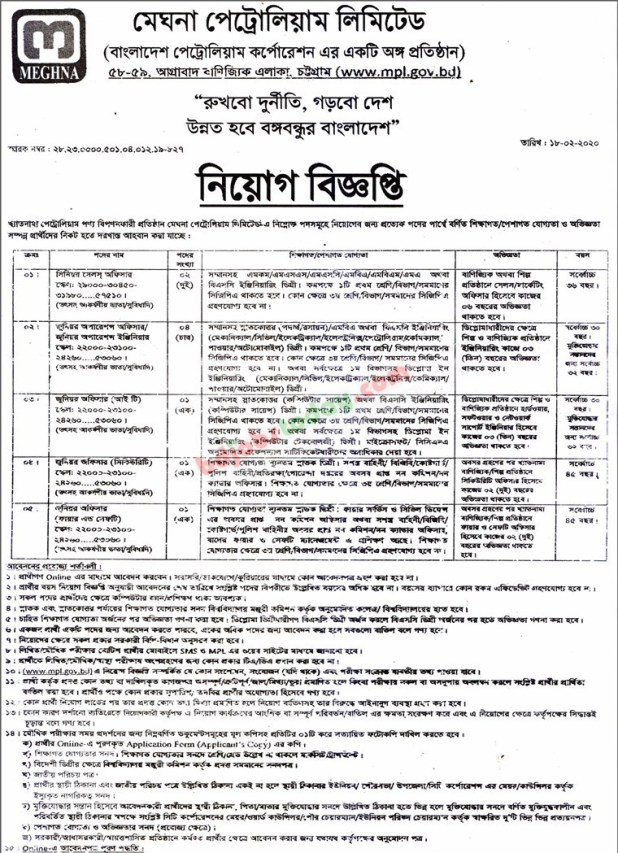 MEGHNA PETROLEUM LIMITED JOBS CIRCULAR 2020