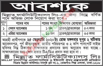 Millat Pharmaceuticals Ltd Job circular February 2020