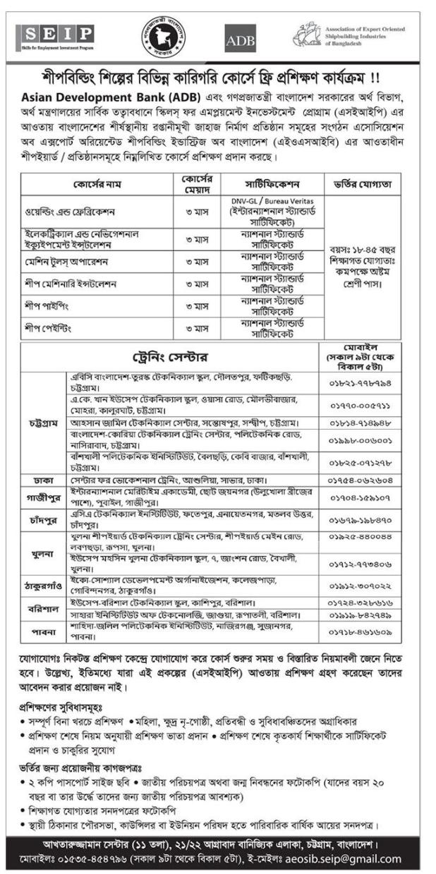 SEIP Training Admission Circular 2020
