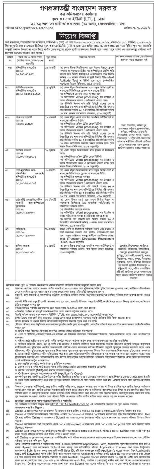 Tax commissioner office Dhaka job circular 2020