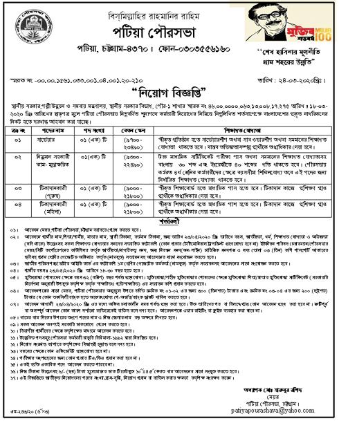 Patiya Pourashava Job Circular 2020