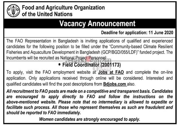 Food agriculture organization united nations job circular 2020