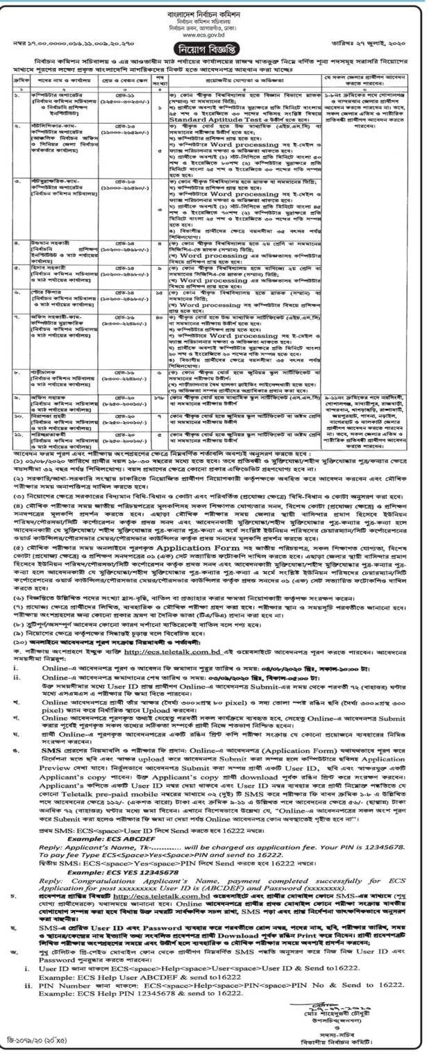 Bangladesh Election Commission ECS Job Circular 2020